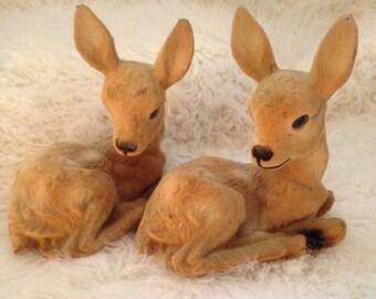 Large Pair of Flocked Deer