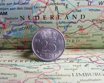 Netherlands quarter coin ring in birth year 1960 - 1961 - 1962 - 1963 - 1964 - 1965 - 1966 - 1967 - 1968 - 1969