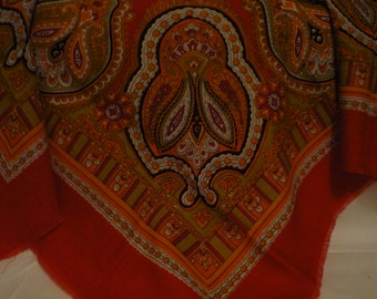 Ukrainian Red Wool Shawl Vintage Shawl Winter Scarf Red Shawl Boho Wedding Shawl Christmas Gift Grandmother Gift for her