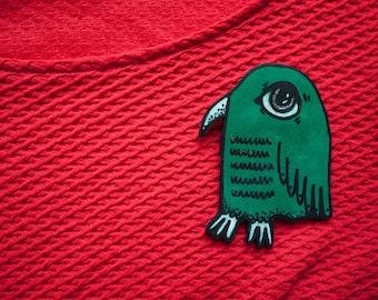 Curtis, the green bird. Handmade Leather Brooch.