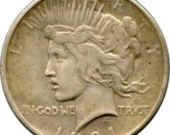1921 Peace Silver Dollar Extra Fine Condition