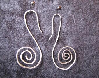 Silver spiral drop earrings