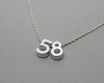 Silver Number necklace, Lucky number necklace, Number jewelry, Number charm, Personalized jewelry, Custom jewelry