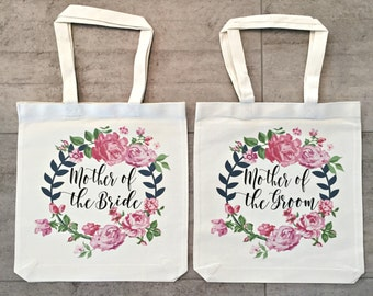 Mother Of The Bride and Mother Of The Groom Tote Bags (set of 2)