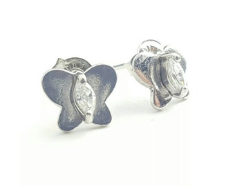Petite Vintage Sterling Silver and Clear Gem Butterfly Studs