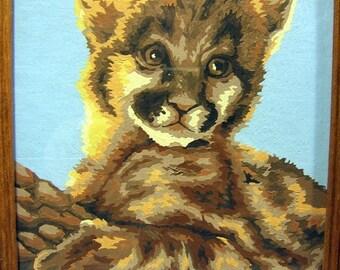 Vintage paint-by-number lion cub
