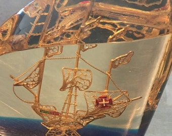 Ship paperweight portugal resin lucite vintage marine/boat/sea