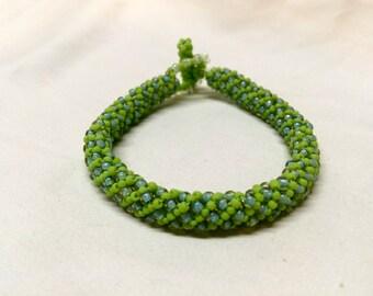 Bright Green Russian Spiral Bracelet