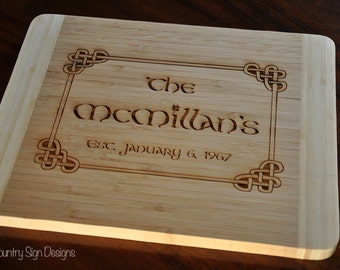 Bamboo Cutting Board, Celtic, Irish, Personalized, Wedding Gift, Wedding, Anniversary