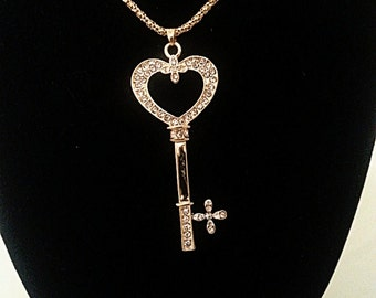Gold Long Necklace Chain  with key pendant
