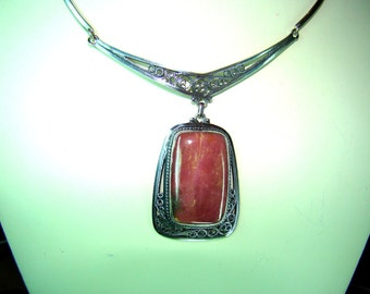 Necklace with a big stone rhodonite