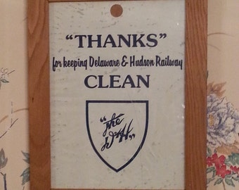 Vintage Railroad Sign Framed Delaware & Hudson Railway