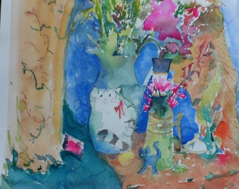 "Original bright watercolor ""Comfortable cats in the flowers"""
