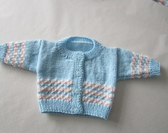 Knitted round neck cardigan for babies