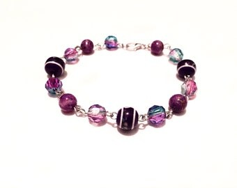 Mixed Purple Bead & Silver Bracelet
