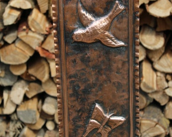 Birds butterflies hand-crafted copper framework