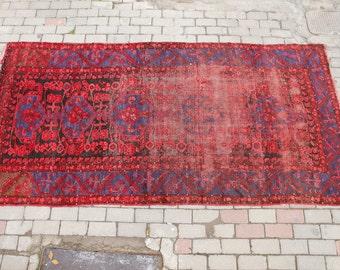 Vintage Turkish Rug, Madder Red, Indigo Blue, Worn Rug, Boho Chic Rug, Shabby Chic Rug