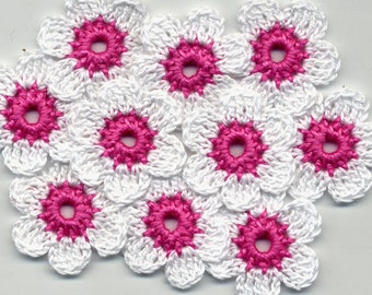Crochet Flowers -  White Crochet Flowers - Crochet Applique - Crocheted White Flowers - Pink Flowers - Crochet White Flowers 3cm 10 Pcs
