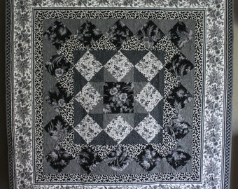 """Elegant 'Regency' Homemade Lap Quilt. Size is 60""""x60"""". Black, white, and gray floral design. SHIPS FREE!"""
