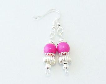 Earrings Handmade Pink Glass Bead Drop Dangle Silver Tone Spacers