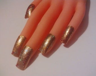 Gold Glitter press on nails