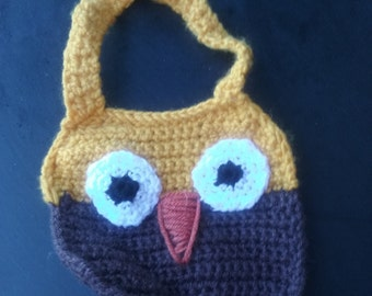 owl bib, owl baby bib, crochet baby hat,