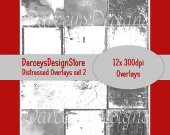 Distressed Overlays set 2, grunge overlays, great for digital crafting, scrapbooking, photography, 300dpi png files