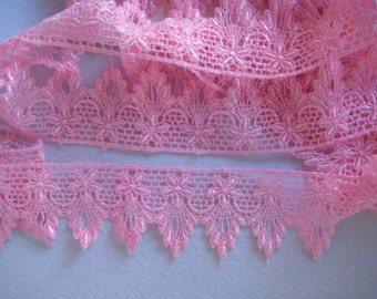 Pink lace hand dyed scalloped lace for clothes, handbags, lampshades, weddings