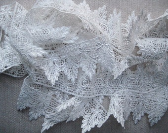 Venise Lace scalloped white  for clothes, handbags, lampshades, candle decor, bridal