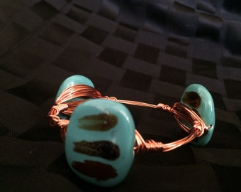 Turquoise Brush Stroke Wire-Wrapped Bracelet