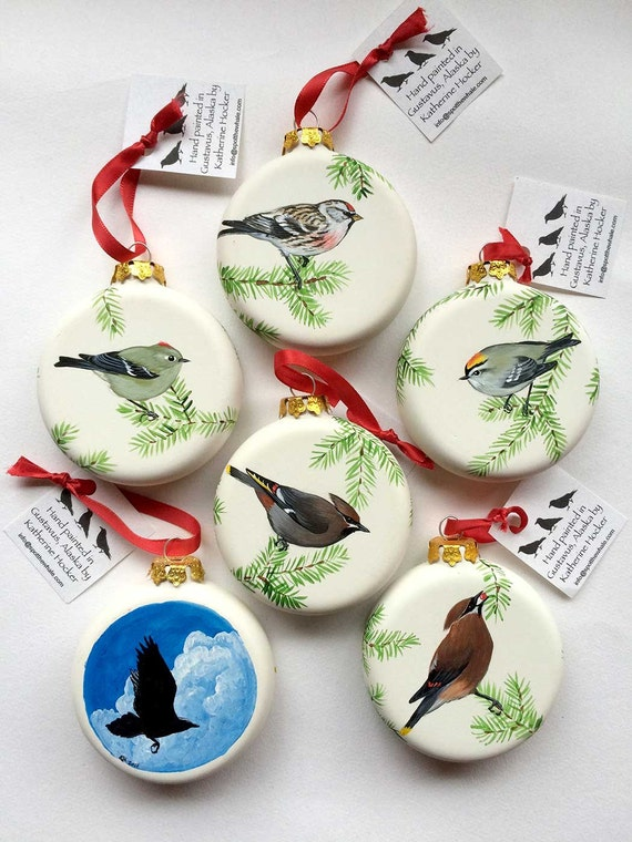 Gift Guide for Nature Lovers - International Shipping. Winter Birds hand-painted porcelain ornaments. Unique handmade nature gift.