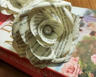 Paper Book Roses, Book Roses, Paper Flower, Paper Flower Bouquet, Keepsake Bouquet, Set of 5 Book Flowers, Vintage Wedding Decor, Home Décor