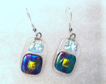 fused glass earrings ..................E15