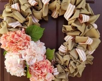 Spring Floral Burlap Wreath
