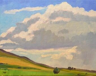 western art landscape oil painting cloud study plein air Colorado american impressionism