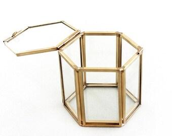Brass Glass Display Box in Hexagon Shape Gold