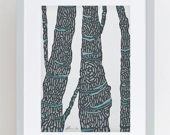 Tree Bark Illustrated Print