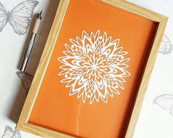 Beautiful handcut Mandala papercut design.  By PixieRah designs
