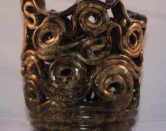 Hand build candle holder ornament coiled ceramics pottery lantern