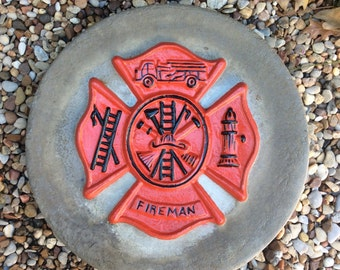 Hand Painted, Hand Made, Acrylic, Concrete, Maltese Cross, Fire Fighter, Fireman, Stepping Stone