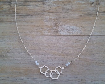Honeycomb necklace, sterling silver and Swarovski crystals, handmade