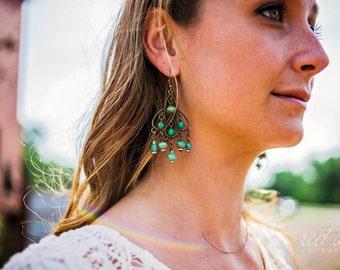 Aqua Kissed...Gypsy, Bohemian, Turquoise, Summer, Chandelier Earrings