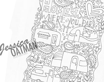 Camper coloring page Etsy