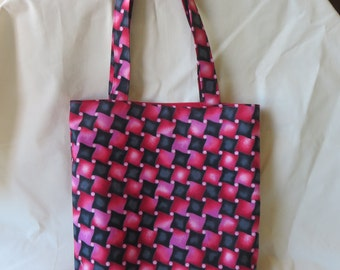 Unique Handcrafted Red and Black Tote Bag