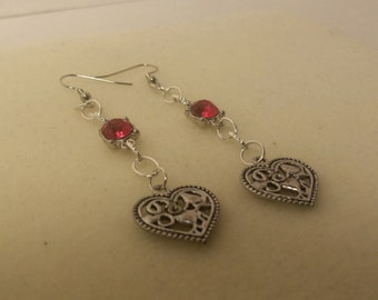 Chained Heart Earrings with Red Gemstones