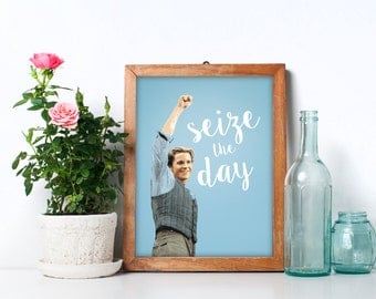 TEAL Newsies Christian Bale Inspired Seize the Day Physical Print, Wall Art, Print Art, Home Decor