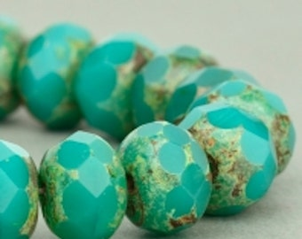 Czech Glass Beads - Czech Glass Rondelles - Turquoise Green Opaque with Picasso Beads - 9x6mm - 25 Beads