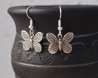 Little butterfly earrings Silver charms earrings Insect earrings Butterfly jewelry Little dangle earrings Gift for girl Spring jewelry