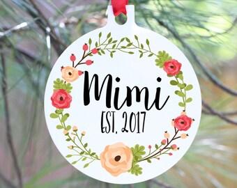 Ornament, Christmas Ornament, Grandma Ornament, Grandma Gift, Mimi Ornament, Mimi Gift,  Christmas Pregnancy Announcement, Grandparent to Be