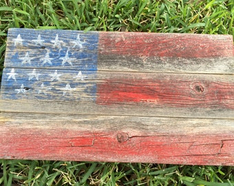 American Flag Old Fence Art